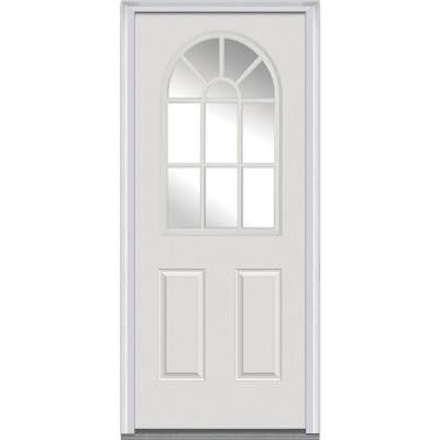 32 in. x 80 in. Classic Clear Glass 11 Arch Lite 2-Panel Primed White Steel Prehung Front Door