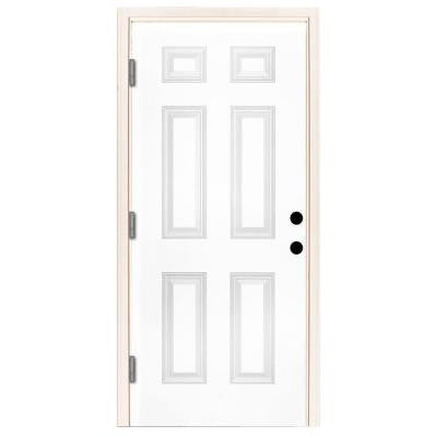 36 in. x 80 in. Premium 6-Panel Primed White Steel Prehung Front Door with 36 in. Right-Hand Outswing and 6 in. Wall