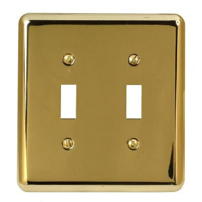 Steel 2 Toggle Wall Plate - Bright Brass