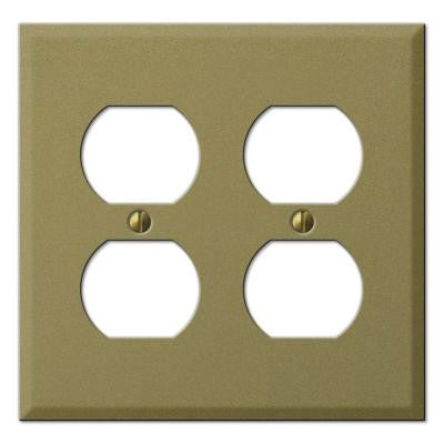 Steel 2 Duplex Wall Plate - Antique Brass