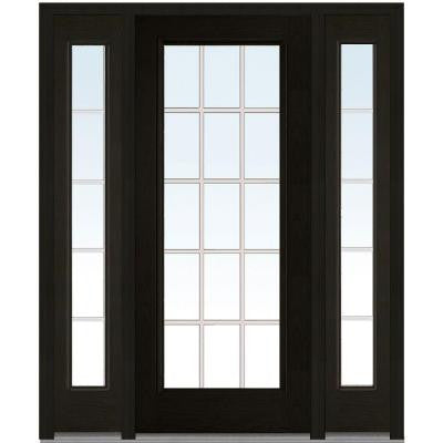 64 in. x 80 in. Classic Clear Glass GBG Full Lite Finished Oak Fiberglass Prehung Front Door with Sidelites