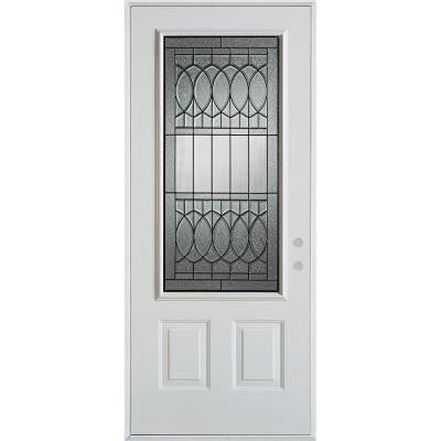 32 in. x 80 in. Nightingale Patina 3/4 Lite 2-Panel Prefinished White Left-Hand Inswing Steel Prehung Front Door