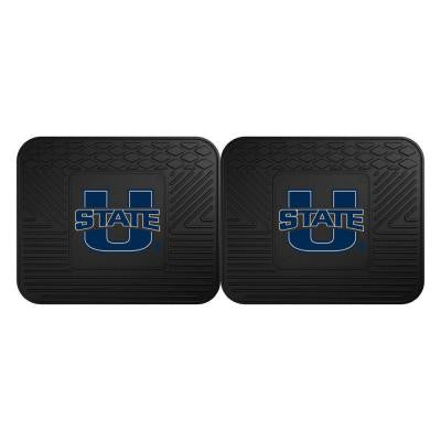 NCAA Utah State University Black Heavy Duty 2-Piece 14 in. x 17 in. Vinyl Utility Mat