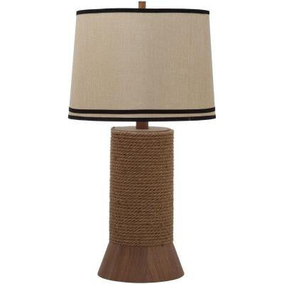 Thom Filicia Alex Bay 36 in. Hemp Brown Table Lamp with Natural Shade