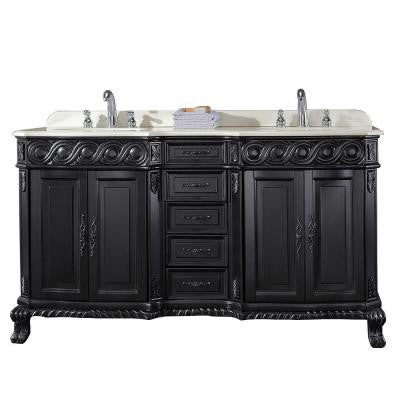 Trent 60 in. W x 21 in. D Vanity in Antique Black with Engineered Marble Vanity Top in White with White Basin