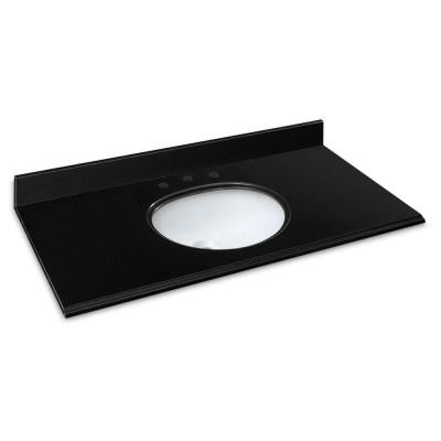49 in. W Granite Vanity Top in Midnight Black with White Basin
