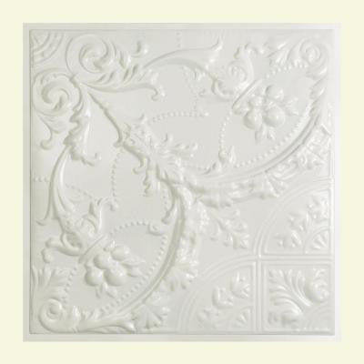 Saginaw 2 ft. x 2 ft. Lay-in Tin Ceiling Tile in Gloss White