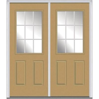 64 in. x 80 in. Classic Clear Glass GBG 1/2 Lite Painted Builder's Choice Steel Double Prehung Front Door