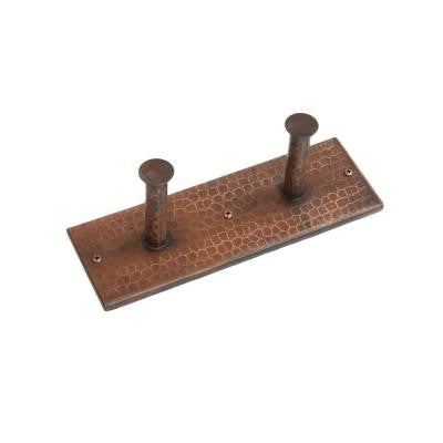 Hand Hammered Copper Double Robe Hook in Oil Rubbed Bronze