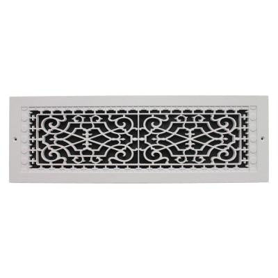 Victorian Wall Mount 6 in. x 22 in. Polymer Resin Decorative Cold Air Return Grille, White