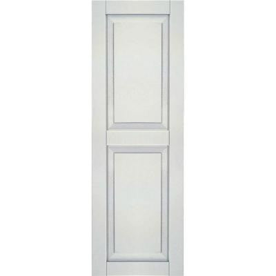 18 in. x 28 in. Exterior Composite Wood Raised Panel Shutters Pair White