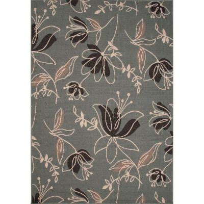 Handmade Blue Surf 5 ft. 3 in. x 7 ft. 6 in. Floral Area Rug