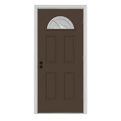 32 in. x 80 in. Langford Fan Lite Painted Premium Steel Prehung Front Door with Brickmould