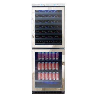 23.5 in. 54-Bottle Mirrored Touch Screen Wine and Beverage Cooler