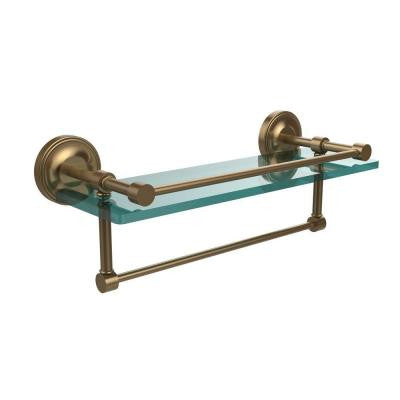 16 in. W x 16 in. L Gallery Glass Shelf with Towel Bar in Brushed Bronze