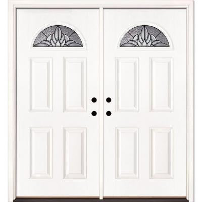 74 in. x 81.625 in. Sapphire Patina Fan Lite Unfinished Smooth Fiberglass Double Prehung Front Door