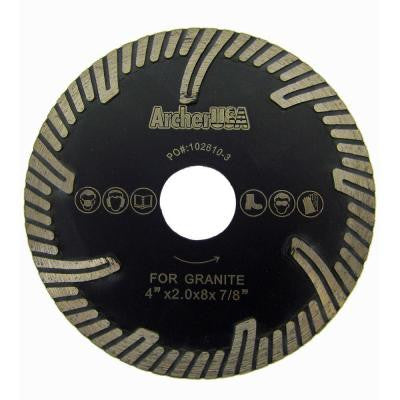 4 in. Turbo Rim Diamond Blade with Protect Teeth for Stone Cutting