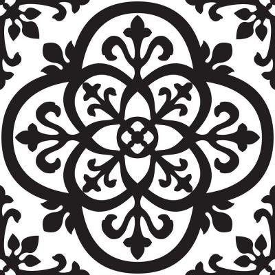 13 in. x 13 in. Black and White Tangier Blocks Wall Decal
