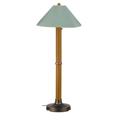 Bahama Weave 60 in. Mocha Cream Floor Lamp with Spa Shade