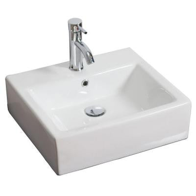 20-in. W x 18-in. D Above Counter Rectangle Vessel Sink In White Color For Single Hole Faucet