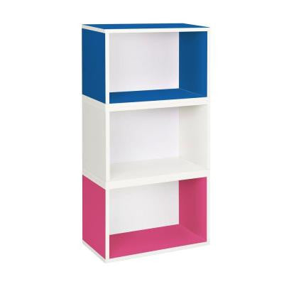 Hillcrest Eco 3-Compartment zBoard Stackable Modular Bookcase and Storage Shelf in Blue/Pink/White