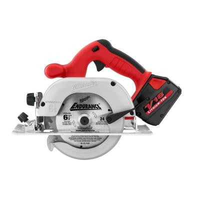 Reconditioned V18 18-Volt Lithium-Ion 6-1/2 in. Cordless Circular Saw 2 Battery Kit