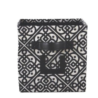 10.75 in. W x 11 in. H Black Lace Fabric Storage Bin with Handle