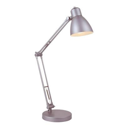 Designer Collection 28 in. Silver Desk Lamp with Silver Metal Shade