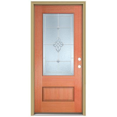 36 in. x 96 in. Rosemont 3/4 Lite Unfinished Mahogany Wood Prehung Front Door with Brickmould and Zinc Caming