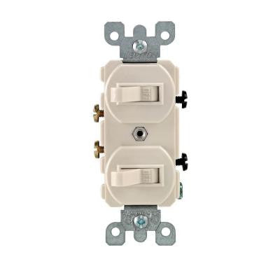15 Amp Combination Double Switch - Light Almond