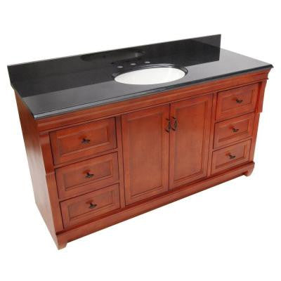 Naples 61 in. W x 22 in. D Vanity in Warm Cinnamon with Granite Vanity Top in Black with Single Bowl in White
