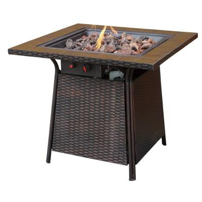 Bronze Faux Wicker 32 in. Propane Gas Fire Pit with Ceramic Tile Surround