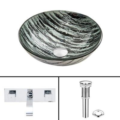 Glass Vessel Sink in Rising Moon with Titus Wall-Mount Faucet Set in Chrome