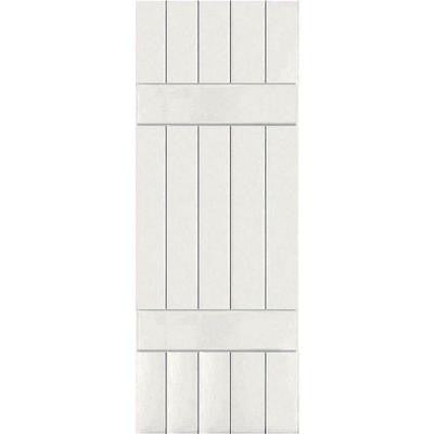 18 in. x 55 in. Exterior Composite Wood Board and Batten Shutters Pair White