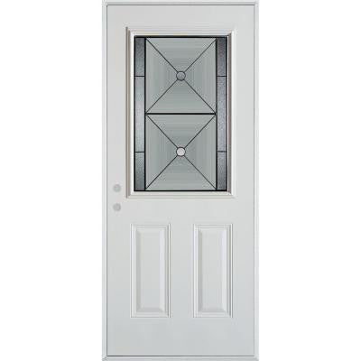 36 in. x 80 in. Bellocchio Patina 1/2 Lite 2-Panel Prefinished White Right-Hand Inswing Steel Prehung Front Door