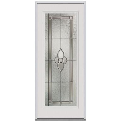 36 in. x 80 in. Master Nouveau Decorative Glass Full Lite Primed White Steel Replacement Prehung Front Door