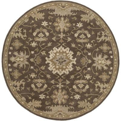Gilgamesh Chocolate 9 ft. 9 in. x 9 ft. 9 in. Round Indoor Area Rug