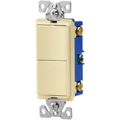15-Amp 120/277-Volt Heavy-Duty Grade 3-Way Decorator (2) Single-Pole Combination Switches - Almond