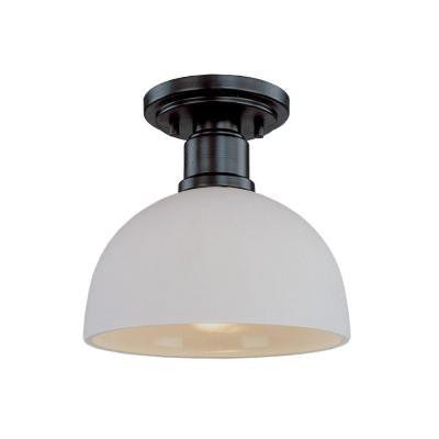 Katina 1-Light Dark Bronze Flushmount with Matte Opal Glass