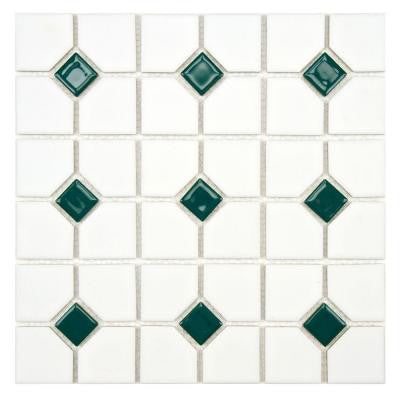 Oxford Matte White with Green Dot 11-1/2 in. x 11-1/2 in. x 5 mm Porcelain Mosaic Tile (9.2 sq. ft. / case)