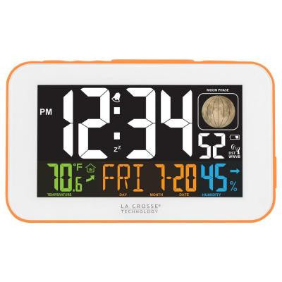 5.5 in. W x 3.3 in. H LED Color Alarm Table Clock with USB Charging Port in Orange