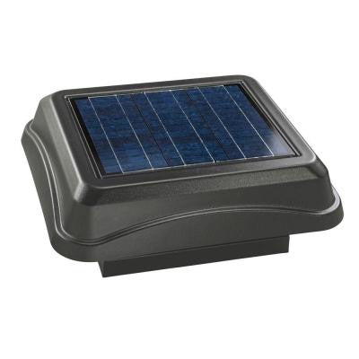 28 Watt Solar-Powered Weathered Wood-Look Curb Mount Attic Vent