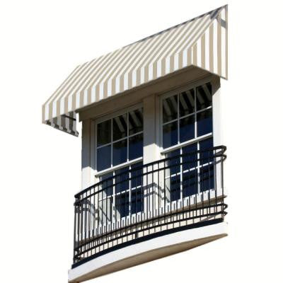 10 ft. New Yorker Window/Entry Awning (18 in. H x 36 in. D) in Linen/White Stripe