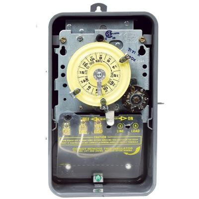 T170 Series 40-Amp 24-Hour Mechanical Time Switch with Skipper and Outdoor Enclosure - Gray