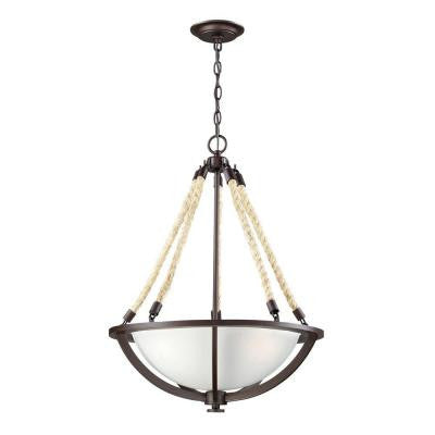 Natural Rope 3-Light Aged Bronze Ceiling Mount Pendant