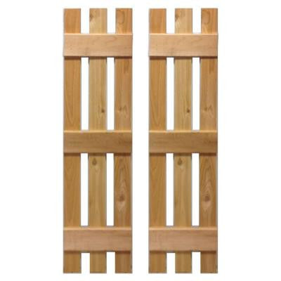 12 in. x 64 in. Natural Cedar Baton Spaced Shutters Pair