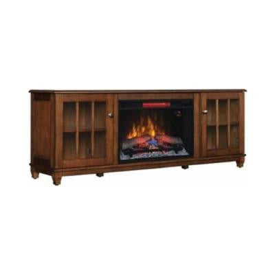 Westcliff 66 in. Low Boy Media Console Electric Fireplace in Chestnut