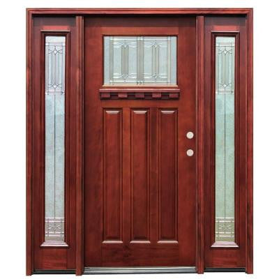 70in.x80in. Craftsman 1 Lt Stained Mahogany Wood Prehung Front Door w/Dentil Shelf 6 in. Wall Series & 14 in. Sidelites