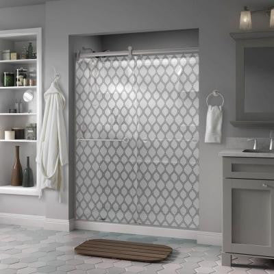 Silverton 60 in. x 71 in. Semi-Framed Contemporary Style Sliding Shower Door in Nickel with Ojo Glass