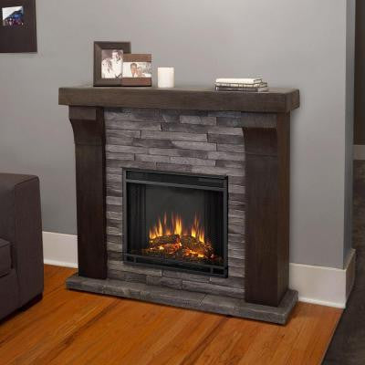Avondale 48 in. Cast Electric Fireplace in Gray Ledgestone
